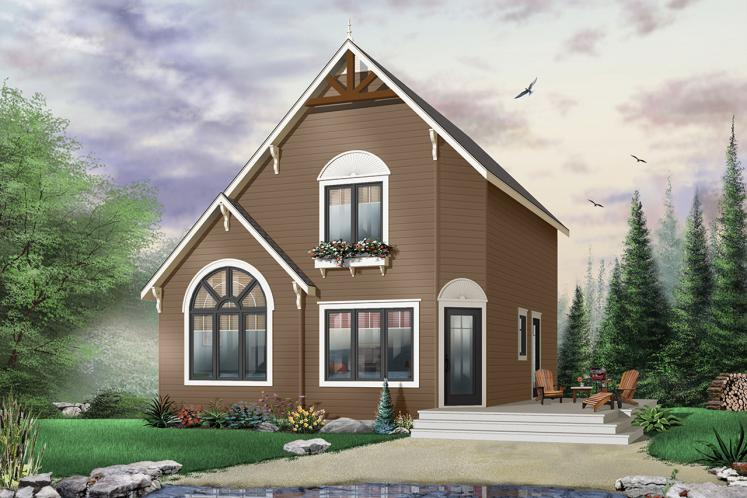 A-Frame House Plan - The Woodlette 1 43724 - Front Exterior