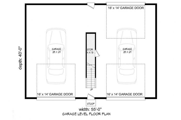 Traditional Garage Plan -  43904 - 1st Floor Plan