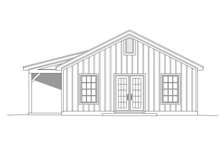 Ranch House Plan -  43970 - Right Exterior