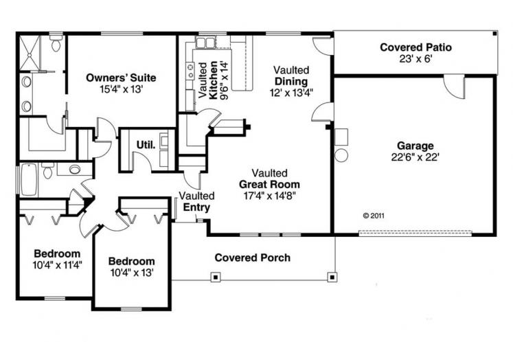 Country House Plan - Stanford 44000 - 1st Floor Plan