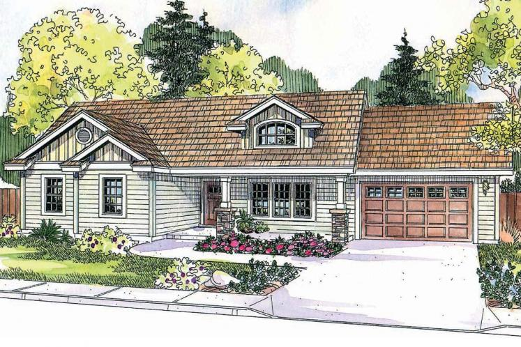 Craftsman House Plan - Stanford 44000 - Front Exterior