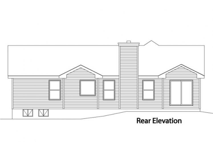 Ranch House Plan -  44234 - Rear Exterior
