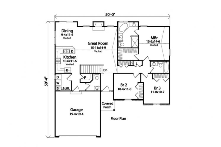 Traditional House Plan -  44234 - 1st Floor Plan
