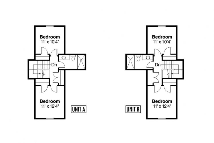Traditional Multi-family Plan - Donovan 44246 - 2nd Floor Plan