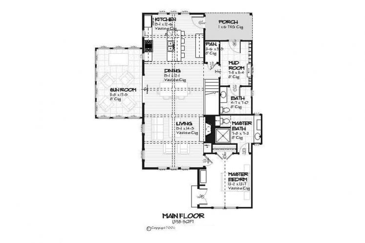 Cottage House Plan - Bayview 44361 - 1st Floor Plan