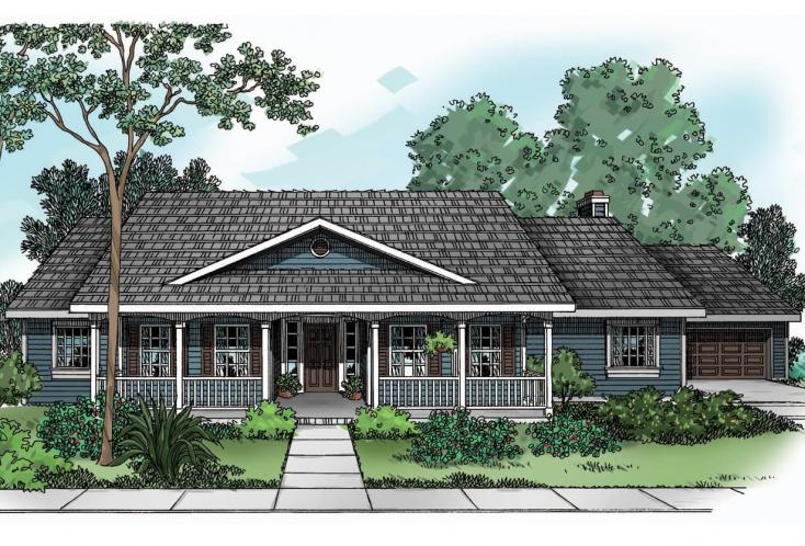 Colonial House Plan - Redmond 44538 - Front Exterior