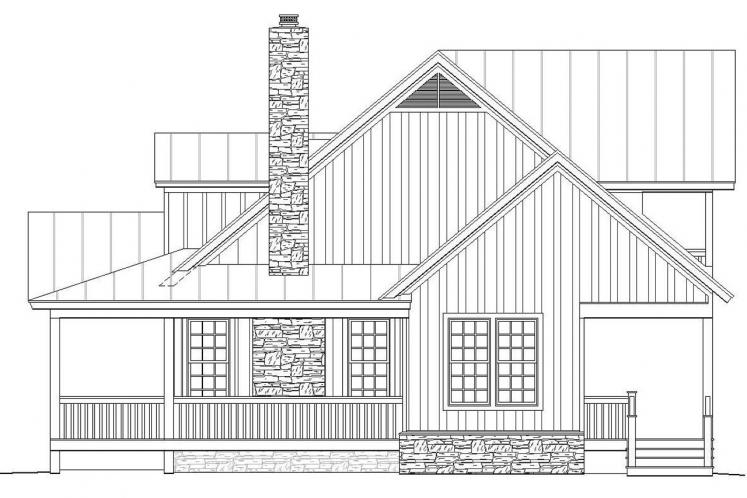 Craftsman House Plan -  44572 - Right Exterior