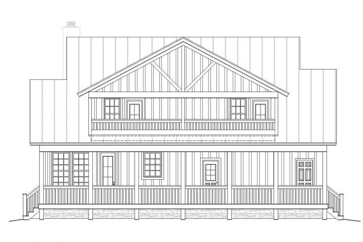 Cottage House Plan -  44572 - Rear Exterior