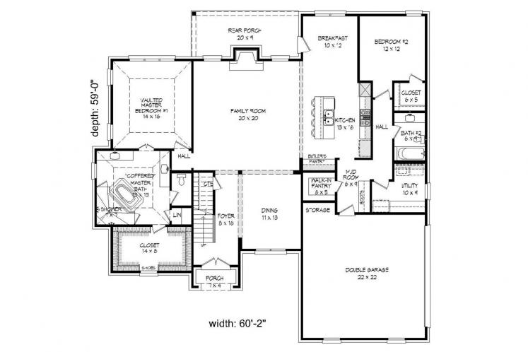 Southern House Plan - Whitetail 44842 - 1st Floor Plan