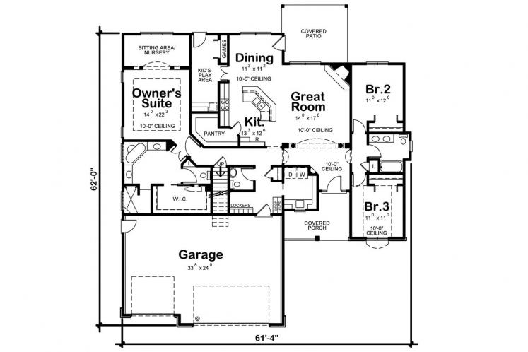 Traditional House Plan - Gonzales 44851 - 1st Floor Plan