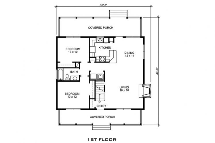 Cottage House Plan - Jennings 44861 - 1st Floor Plan
