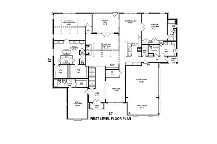 Southern House Plan -  44876 - 1st Floor Plan