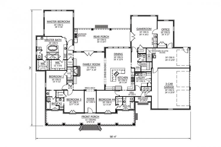 Classic House Plan - Plantation 44913 - 1st Floor Plan