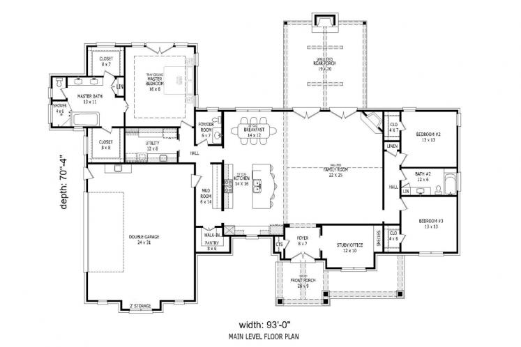 Craftsman House Plan - Garland 44952 - 1st Floor Plan