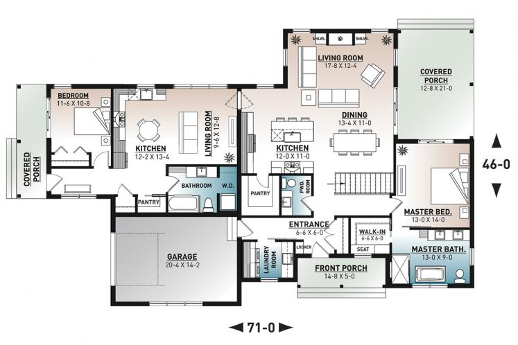 Cottage Multi-family Plan - Generation 44964 - 1st Floor Plan