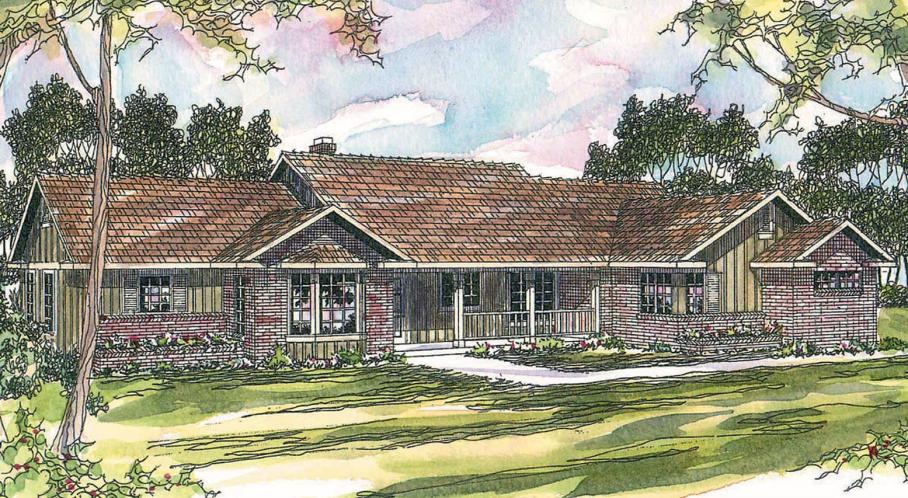 Ranch House Plan - Burlington 44980 - Front Exterior
