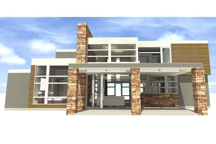 Modern House Plan - Mesa 45002 - Rear Exterior