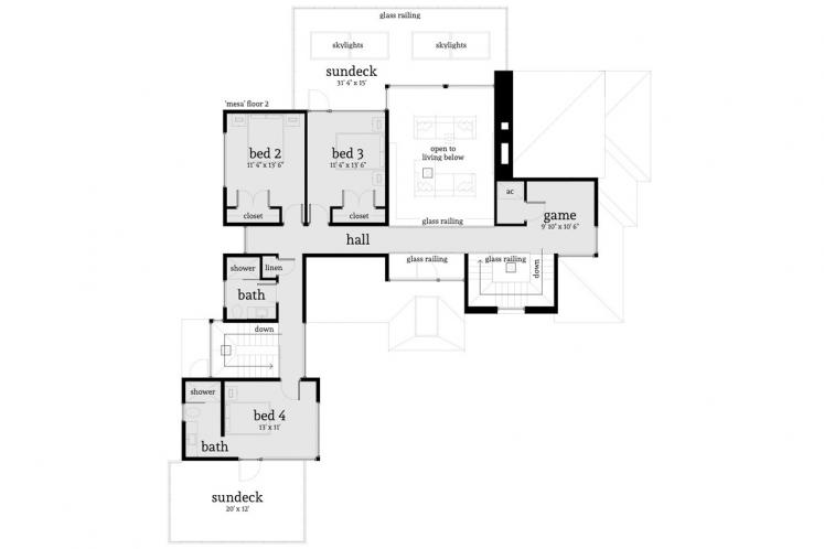 Modern House Plan - Mesa 45002 - 2nd Floor Plan