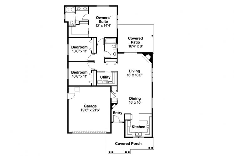 Country House Plan - Caspian 45189 - 1st Floor Plan