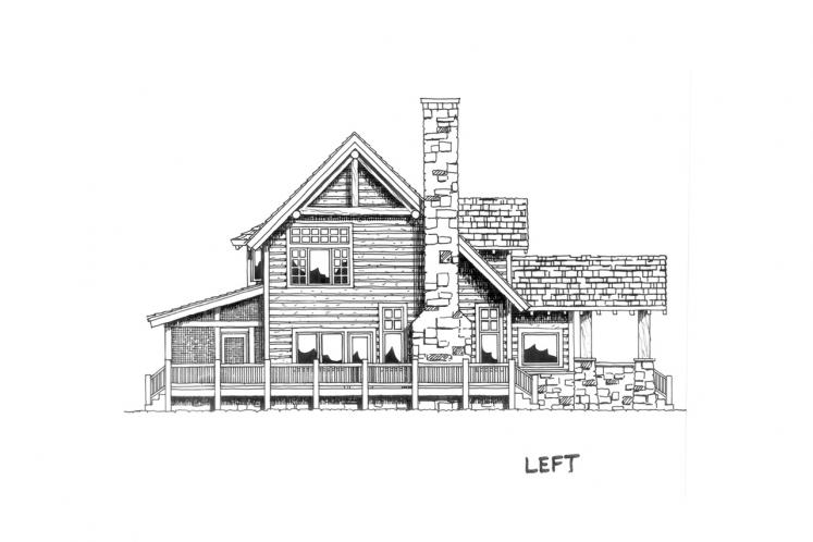 Lodge Style House Plan - Stone Cliff 45246 - Left Exterior