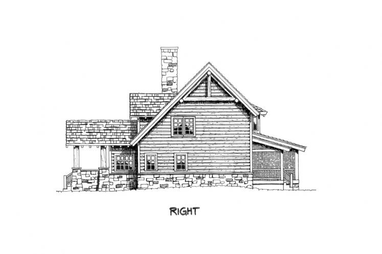 Craftsman House Plan - Stone Cliff 45246 - Right Exterior