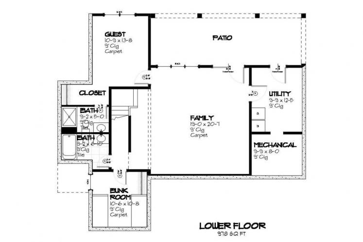 Cottage House Plan - Heron 45602 - Basement Floor Plan