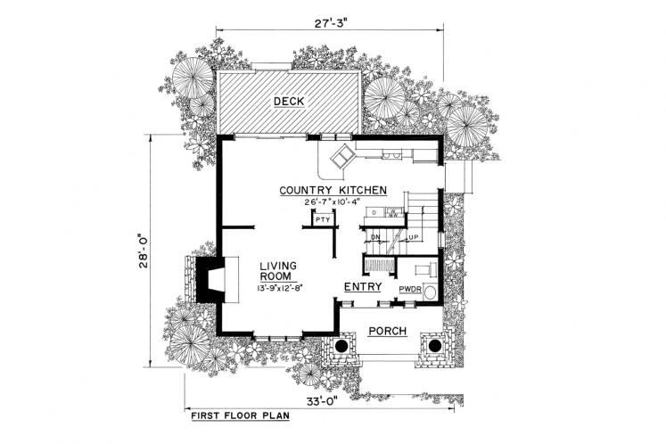 Cottage House Plan -  45644 - 1st Floor Plan