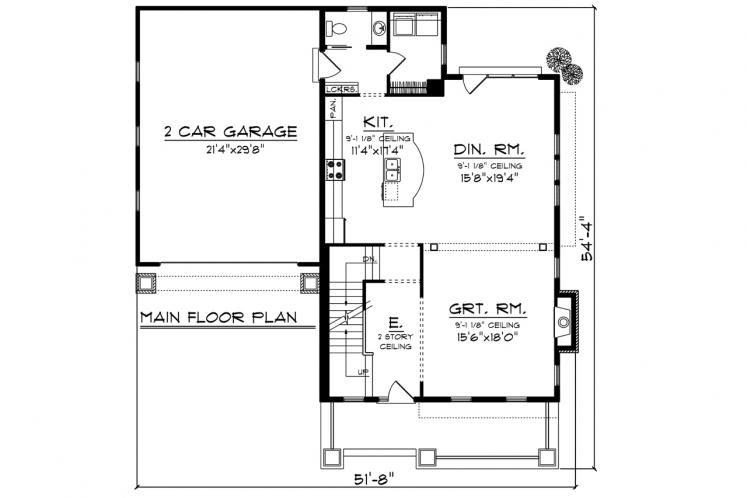 Traditional House Plan -  45649 - 1st Floor Plan