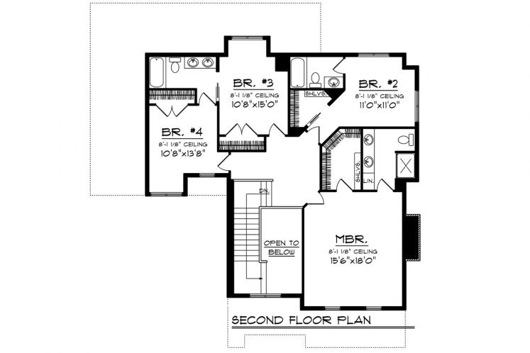 Craftsman House Plan -  45649 - 2nd Floor Plan