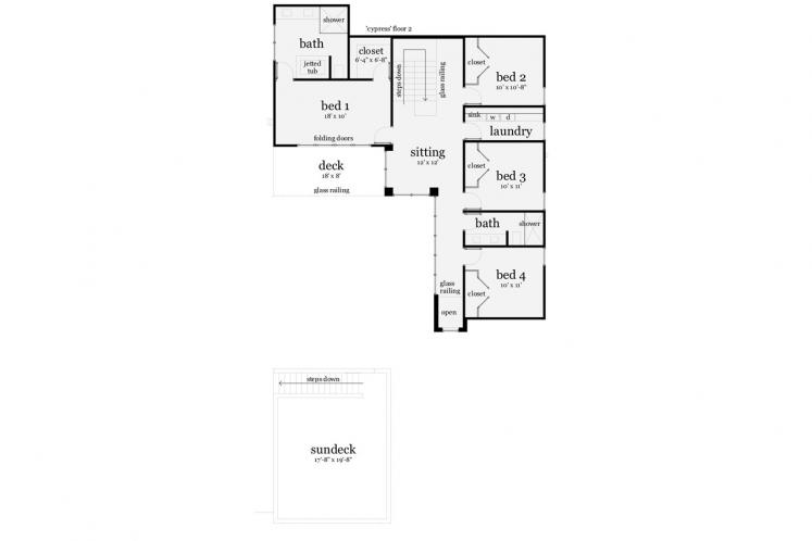 Contemporary House Plan - Cypress 45698 - 2nd Floor Plan