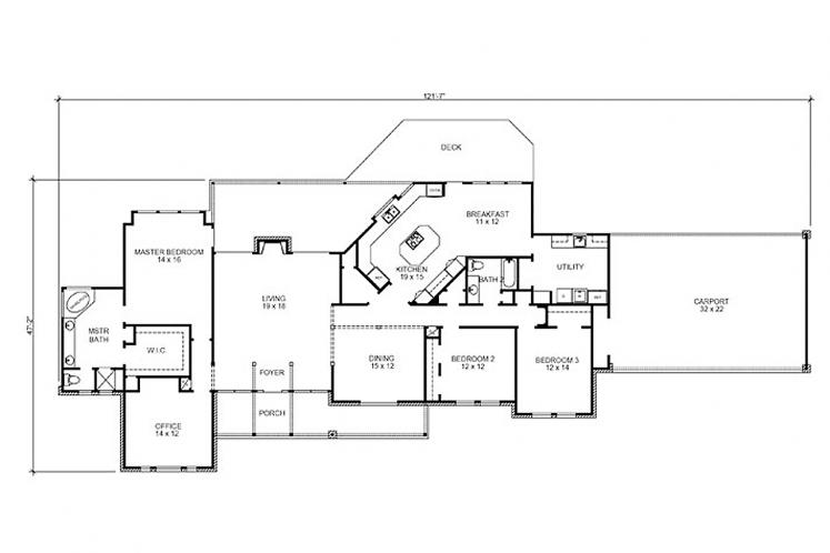 Southern House Plan - Huntington 45754 - 1st Floor Plan