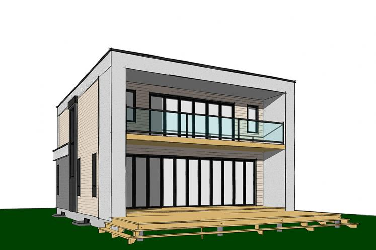 Contemporary House Plan - Essex 3 45789 - Rear Exterior
