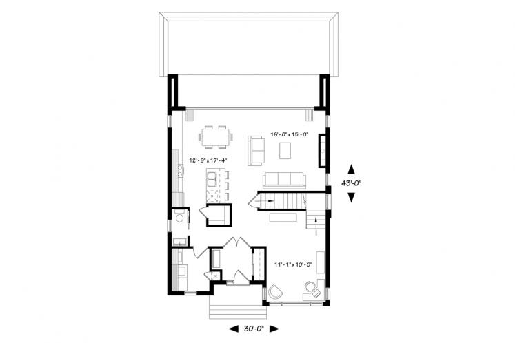 Modern House Plan - Essex 3 45789 - 1st Floor Plan