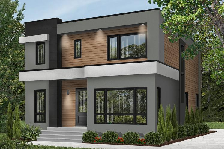 Modern House Plan - Essex 3 45789 - Front Exterior