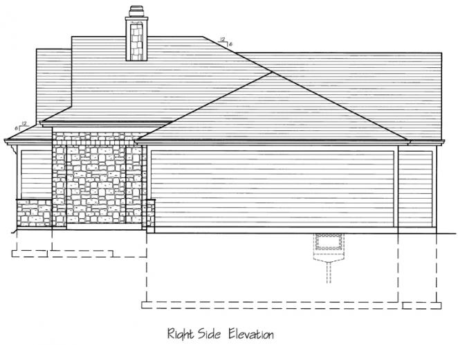 Ranch House Plan - The Biscayne 45846 - Right Exterior