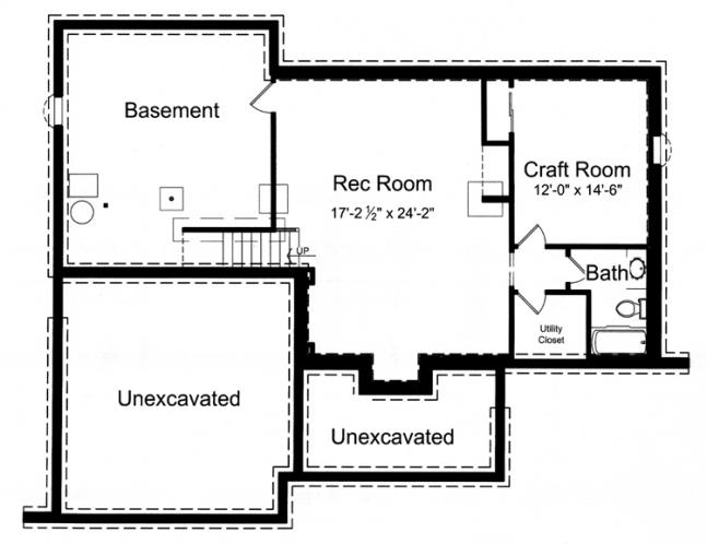 Ranch House Plan - The Biscayne 45846 - Basement Floor Plan