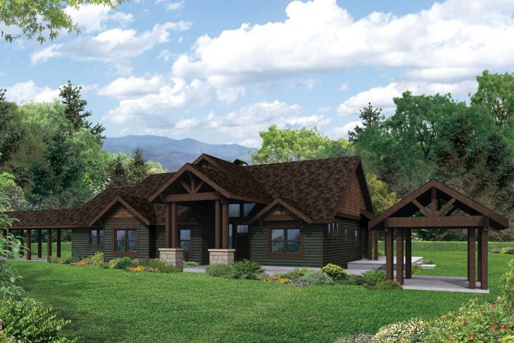 Lodge Style House Plan - Cedar Height 45893 - Front Exterior