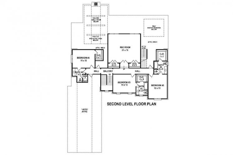 Southern House Plan -  45921 - 2nd Floor Plan