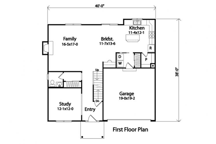 Traditional House Plan -  46471 - 1st Floor Plan