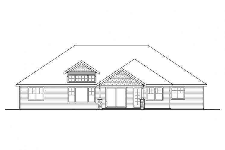 Craftsman House Plan - Laceflower 46523 - Rear Exterior