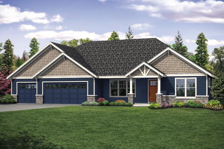 Ranch House Plan - Laceflower 46523 - Front Exterior