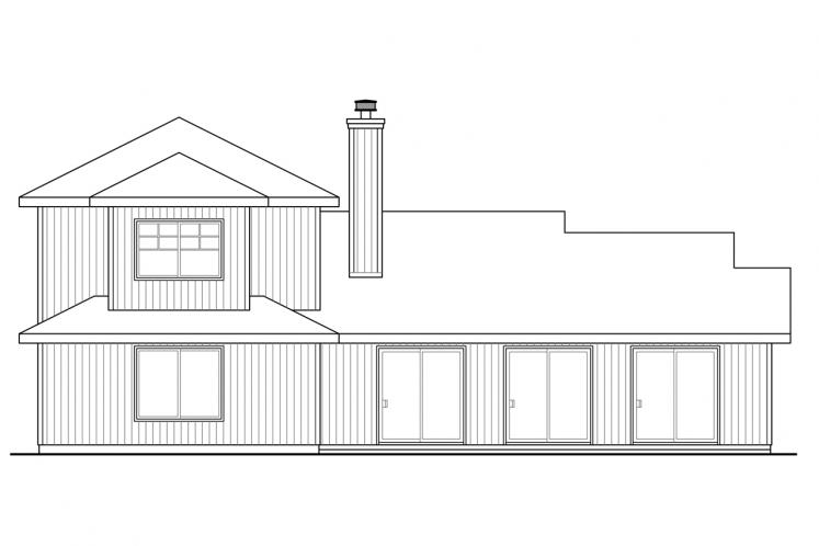 Traditional House Plan - Oakview 46601 - Rear Exterior