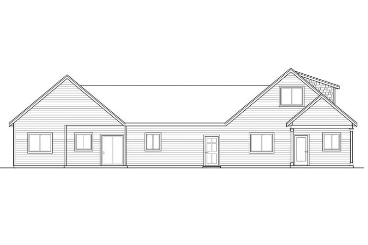 Cape Cod Multi-family Plan - Columbine 46664 - Rear Exterior