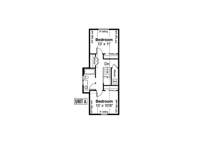 Traditional Multi-family Plan - Columbine 46664 - 2nd Floor Plan