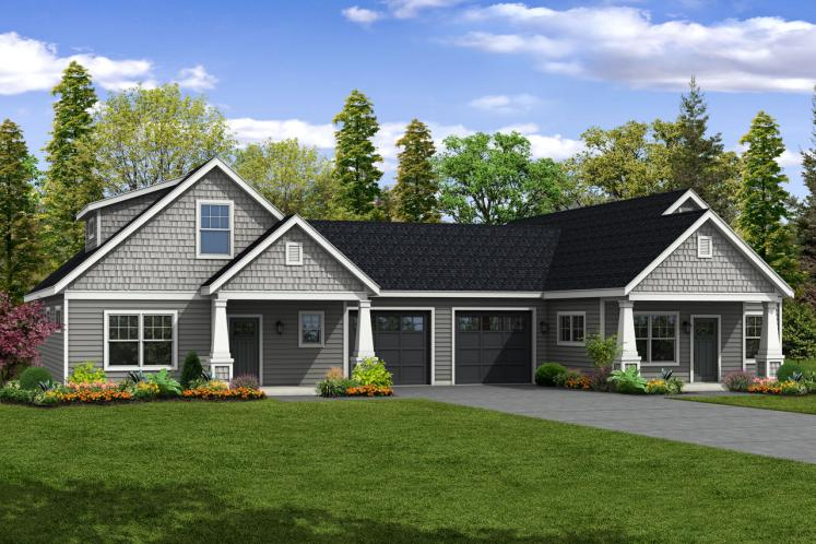 Cottage Multi-family Plan - Columbine 46664 - Front Exterior