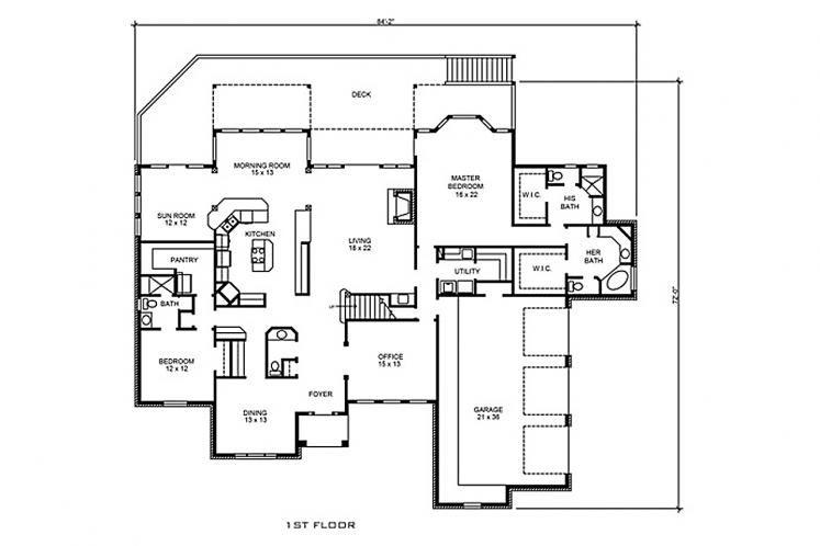 Traditional House Plan - Brady 46751 - 1st Floor Plan