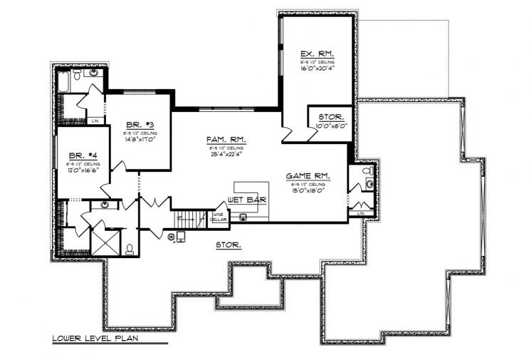 Tuscan House Plan -  46796 - Basement Floor Plan