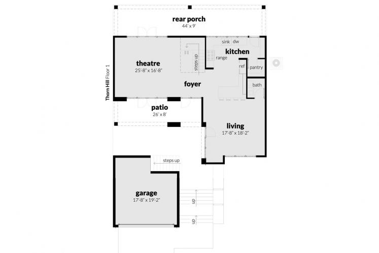 Contemporary House Plan - Thorn Hill 46802 - 1st Floor Plan