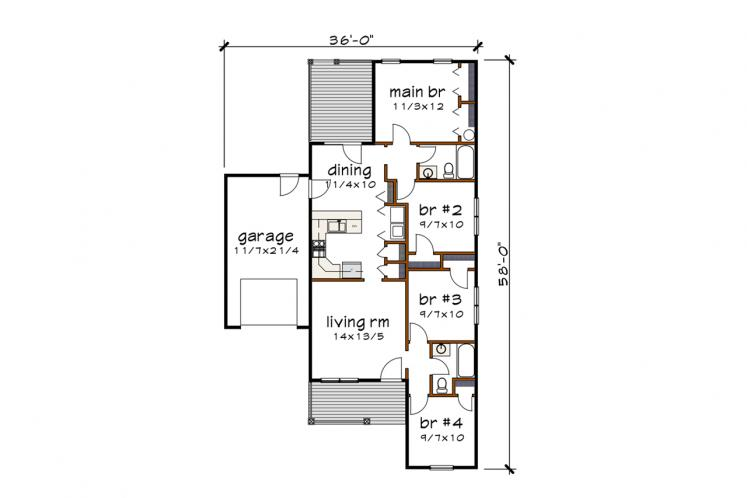 Country House Plan -  46877 - 1st Floor Plan