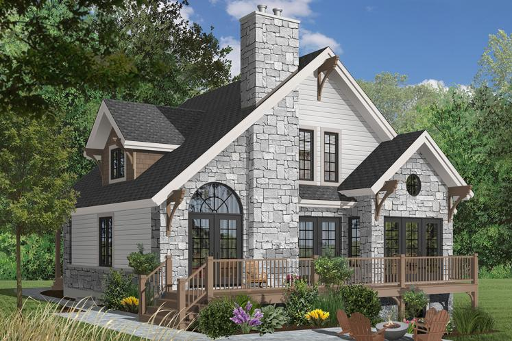 Craftsman House Plan - Touchstone 46969 - Rear Exterior